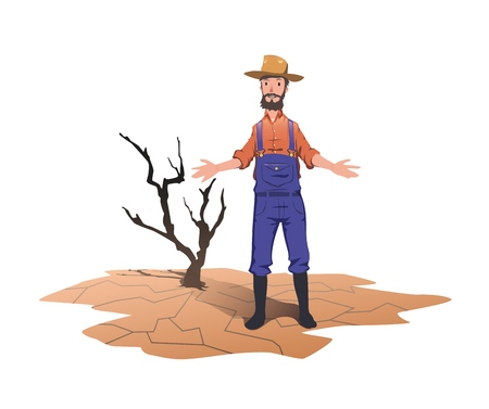 Illustrazione per A farmer standing next to a dried dead tree. Concept on the theme of drought, global warming, lack of water for irrigation. Vector illustration, isolated on white background. - Immagini Royalty Free