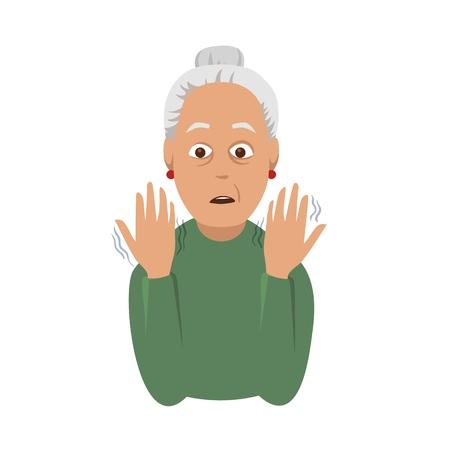 Ilustración de Tremor hands. An elderly woman looking at the shaking hands. Symptom of Parkinsons disease. Medical vector illustration. - Imagen libre de derechos