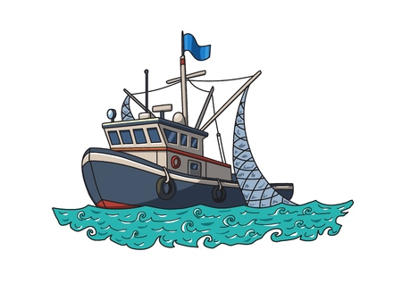 Ilustración de Fishing boat in the sea. Vector illustration, isolated on white background. - Imagen libre de derechos