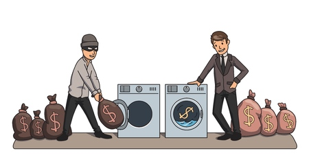 Illustration pour Money-laundering. The criminal and the businessman washing money in the machines. Concept vector illustration. - image libre de droit
