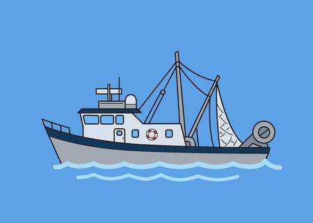 Ilustración de Commercial fishing trawler boat. Flat vector illustration. Isolated on blue background. - Imagen libre de derechos