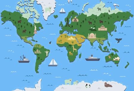 Illustration pour Stylized world map with tourist attraction symbols. Simple geographical map. Flat vector illustration. - image libre de droit