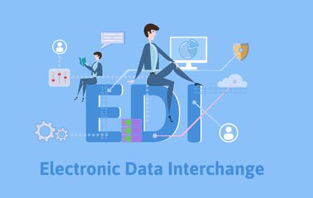 Illustration pour EDI, Electronic Data Interchange. Concept with keywords, letters and icons. Colored flat vector illustration on blue background. - image libre de droit