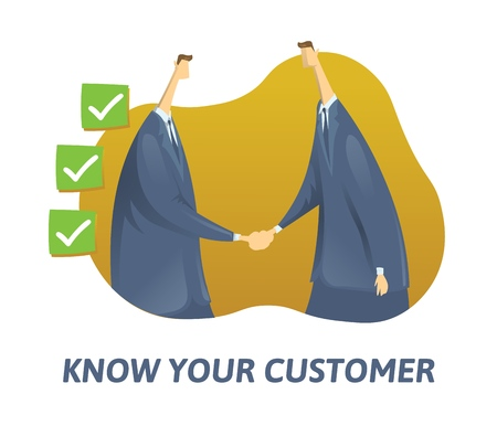 Illustration pour KYC, know your customer concept. Businessmen shaking hand and ticked boxes nearby. Colored flat vector illustration on white background. - image libre de droit