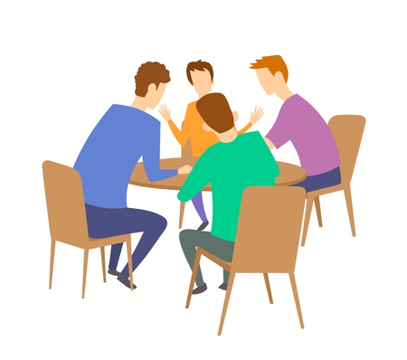 Illustration pour Group of four young people having discussion at the table. Brainstorming. Colorful flat vector illustration. Isolated on white background. - image libre de droit