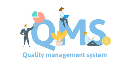Illustration for QMS, quality management system. Concept with keywords, letters, and icons. - Royalty Free Image