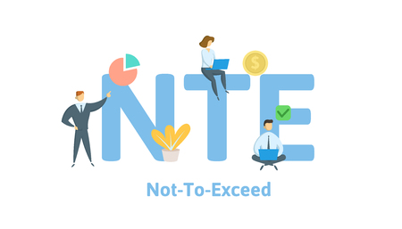 Ilustración de NTE, Not To Exceed. Concept with keywords, letters and icons. Colored flat vector illustration. Isolated on white background. - Imagen libre de derechos