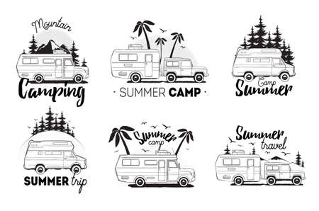 Illustration pour Set of camping trailer logo. camper vans against landscape background with lettering mountain, summer camp, trip. Black and white composition collection. - image libre de droit