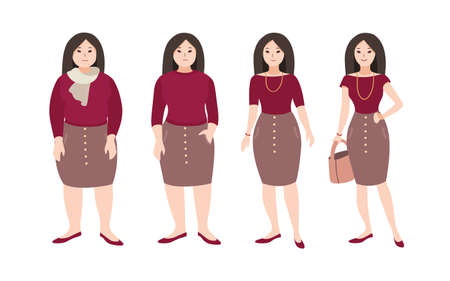 Progressive steps of young female cartoon character s body changing. Concept of weight loss through fitness workouts and proper nutrition. Vector illustration.