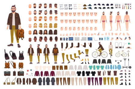 Illustration pour Set of male cartoon character body parts, skin types, facial gestures, hairstyles, trendy clothing, stylish accessories design illustration. - image libre de droit