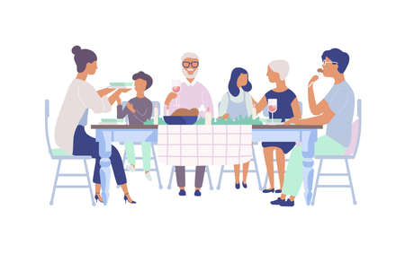 Illustration pour People sitting at table decorated with candles, eating food, drinking wine and talking to each other. Family holiday dinner. Flat cartoon characters isolated on white background. Vector illustration - image libre de droit