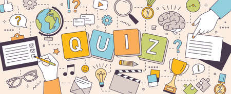 Illustration pour Horizontal banner with hands of people solving puzzles and answering quiz questions. - image libre de droit
