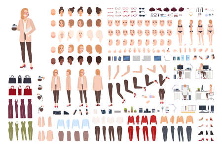 Illustration pour Female secretary or office assistant constructor or creation kit. Bundle of pretty cartoon character body parts, facial expressions, poses, clothes isolated on white background. Vector illustration. - image libre de droit