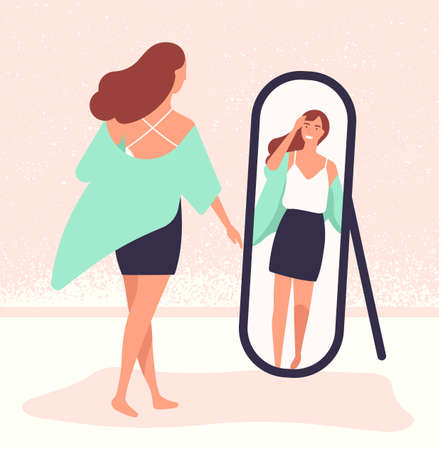 Young long-haired woman standing in front of mirror and looking at reflection. Beautiful girl dressing up. Female cartoon character viewing her outfit. Colorful vector illustration in flat style.
