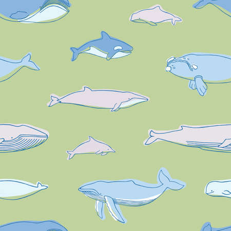 Gorgeous seamless pattern with aquatic animals or marine mammals hand drawn on green background - blue, humpback, beluga, killer whales, narwhal, dolphins, cachalot. Vector illustration for wallpaper
