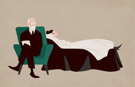 Illustration pour Woman lying on couch and Sigmund Freud sitting in armchair beside her and asking questions. Dialogue between patient and psychoanalyst. Psychoanalysis and psychotherapy. Flat vector illustration - image libre de droit