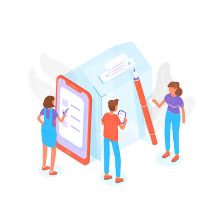 Illustration pour Modern composition with people standing beside giant ballot box at polling station and voting or taking part in political election process. Trendy creative colorful isometric vector illustration. - image libre de droit