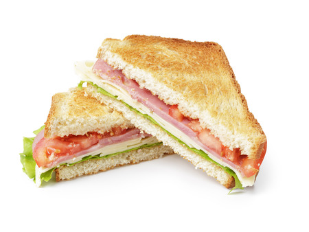 Photo pour toasted sandwich with ham, cheese and vegetables, isolated - image libre de droit