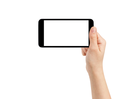 Photo for female teen hand taking photo with generic smartphone, isolated - Royalty Free Image