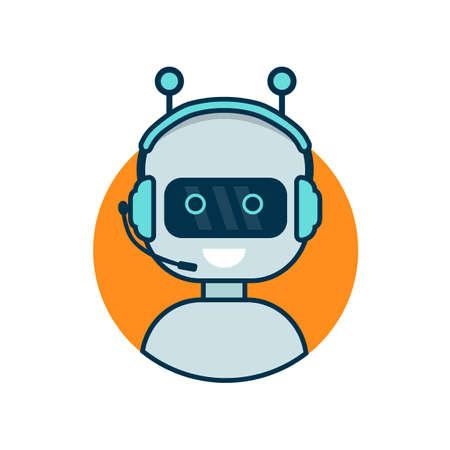 Ilustración de Chatbot icon. Cute robot working behind laptop. Modern bot sign design. Smiling customer service robot. Flat line style vector illustration isolated on white background - Imagen libre de derechos