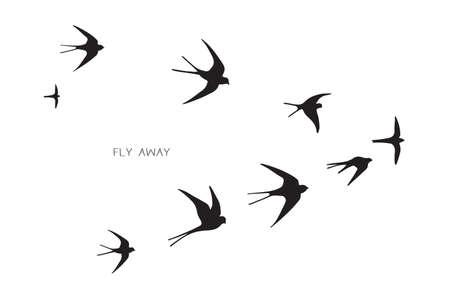 Ilustración de flock of birds silhouette swallow vector illustration - Imagen libre de derechos