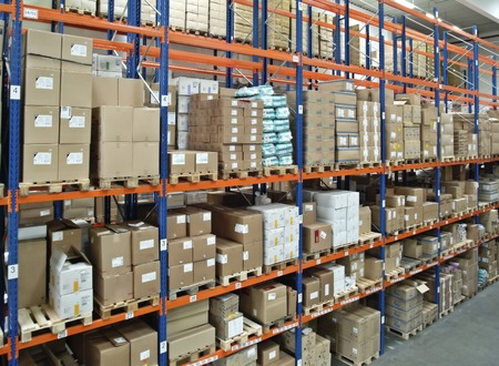 Photo for View in a warehouse with a full high-bay  - Royalty Free Image
