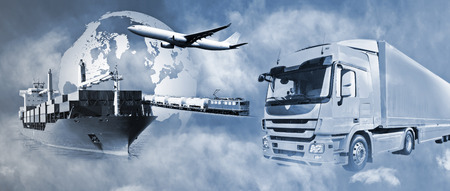 Photo for Transport of goods by truck, boat, plane and train. - Royalty Free Image
