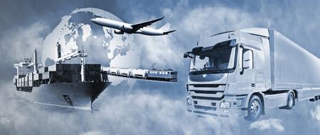 Photo pour Transport of goods by truck, boat, plane and train. - image libre de droit