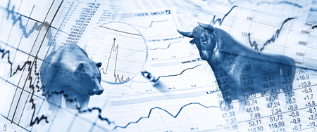 Photo for Stock exchange with bull, bear and stockcharts - Royalty Free Image