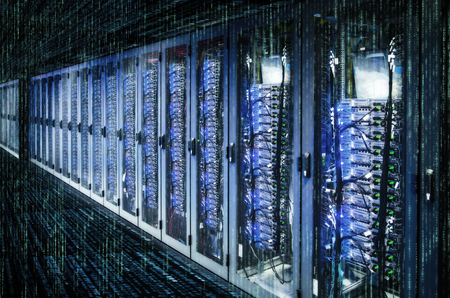 Photo pour Network cabinets with server racks in a data center with matrix. - image libre de droit