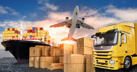 Foto de Truck, airplane and ship with carrier boxes as a symbol for international trade - Imagen libre de derechos