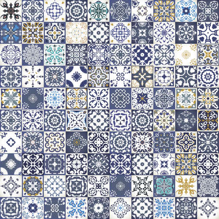 Illustration for Gorgeous floral patchwork design. Colorful Moroccan or Mediterranean square tiles, tribal ornaments. For wallpaper print, pattern fills, web background, surface textures.  Indigo blue white teal aqua - Royalty Free Image
