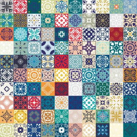Illustration pour Mega Gorgeous seamless patchwork pattern from colorful Moroccan tiles, ornaments. - image libre de droit