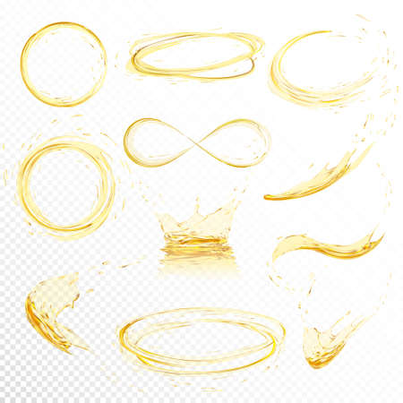 Ilustración de Oil splashing isolated on white background. Realistic yellow liquid with drop created with gradient mesh. Vector illustration set. - Imagen libre de derechos