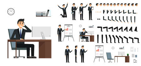 Ilustración de Character vector set. Male businessman character design in flat design isolated. Emotions, face, leg and arms and other parts for animation creation - Imagen libre de derechos