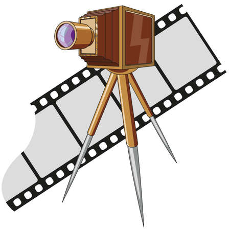 Illustration pour Old photo camera with tripod - image libre de droit