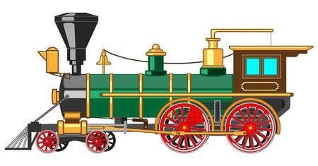 Illustration pour Bright cartoon steam locomotive - image libre de droit
