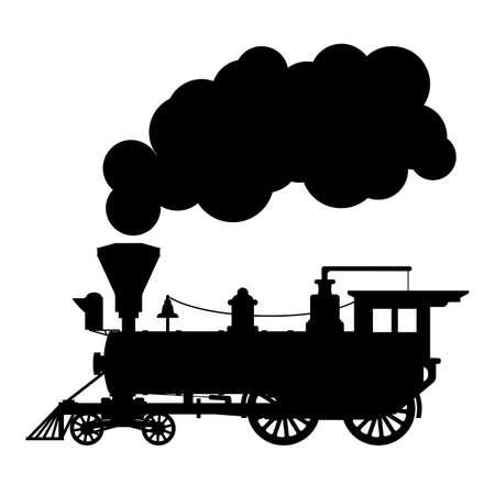 Illustration pour Silhouette steam locomotive - image libre de droit