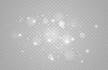 Ilustración de White sparks and golden stars glitter special light effect vector sparkles on transparent background. Christmas abstract pattern sparkling magic dust particles. - Imagen libre de derechos