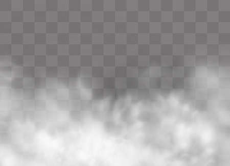 Ilustración de Transparent special effect stands out with fog or smoke. White cloud vector, fog or smog. Vector illustration. White gradient on a transparent background. Rainy weather on a transparent background. - Imagen libre de derechos