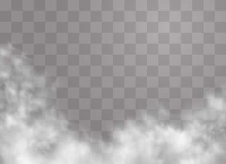 Ilustración de Transparent special effect stands out with fog or smoke. White cloud vector, fog or smog. Vector illustration. White gradient on a transparent background. Rainy weather on a transparent background. - Imagen libre de derechos