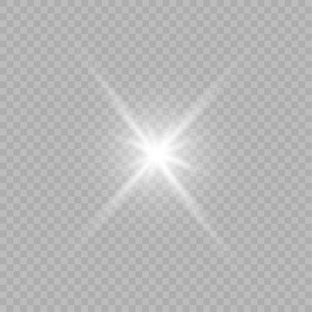 Ilustración de Glow isolated white transparent light effect set, lens flare, explosion, glitter, line, sun flash, spark and stars. - Imagen libre de derechos