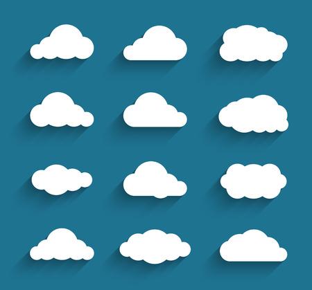 Illustration pour Flat design cloudscapes collection. Flat shadows. Vector illustration - image libre de droit