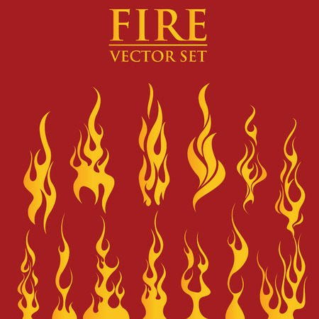 Illustration for Fire flames, set icons, vector illustration - Royalty Free Image