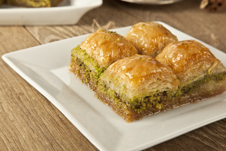 Photo for Turkish Ramadan Dessert Baklava with concept background - Royalty Free Image