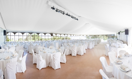 Photo for Wedding, event, celebration,  banquet, dinner, reception area tent - Royalty Free Image