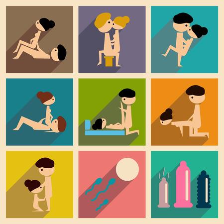 Ilustración de Concept of flat icons with long shadow sex - Imagen libre de derechos