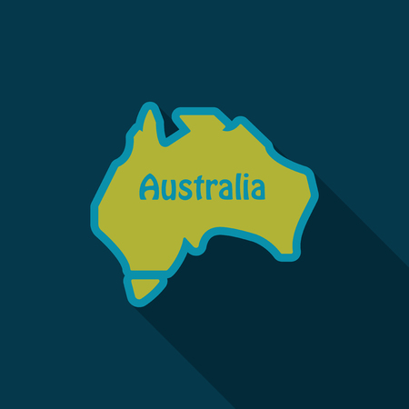 Illustration pour Australia - highly detailed map of Ausytralia in flat style with shadow - image libre de droit