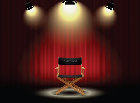 Illustration pour background curtain and director's chair with spotlight - image libre de droit