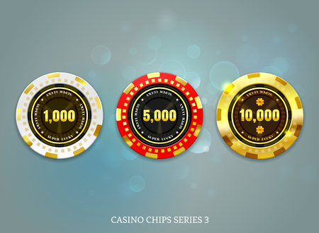Ilustración de casino coins chip set on bokeh background vector illustration - Imagen libre de derechos